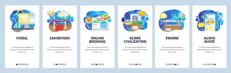 Archeological museum exhibition, ancient history objects. Mobile app onboarding screens. Menu vector banner template for website and mobile development. Web site design flat illustration