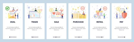 Business icons, signed deal, sale, shopping bags, retail shop, secure mobile payment. App onboarding screens. Menu vector banner template for website and mobile. Web site design flat illustration Vettoriali