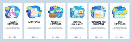 Health, car, travel, house insurance policy, finance and accident insurance. Mobile app onboarding screens. Menu vector banner template for website and mobile development. Web site flat illustration