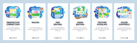 Photo and video editing software, macro photography, color enhancements. Mobile app onboarding screens. Menu vector banner template for website and mobile development. Web site design illustration Vettoriali