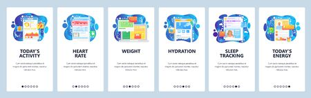 Day activity and fitness tracking mobile app, heart rate, weight loss, hydration. Mobile app onboarding screens. Menu vector banner template for website and development. Web site design illustration Ilustração