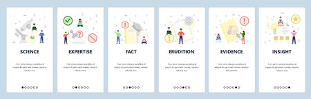 Science and education icons. Mobile app onboarding screens. Menu vector banner template for website and mobile development. Web site design flat illustration Stock Illustratie
