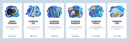 Makeup accessories, beauty salon, eyebrow mascara, pencil, tint, brow pomade. Mobile app onboarding screens. Menu vector banner template for website and mobile development. Web site design flat illustration.