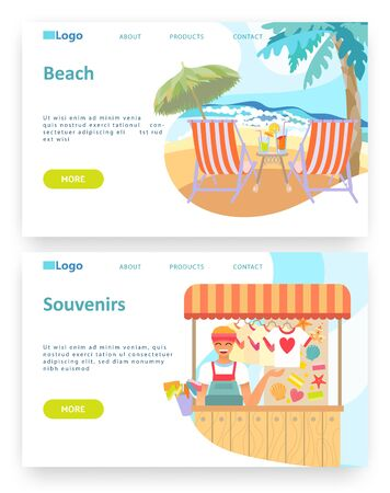 Summer tropical vacation travel. Holiday on a beach concept. Souvenirs shop. Vector web site design template. Landing page website concept illustration.