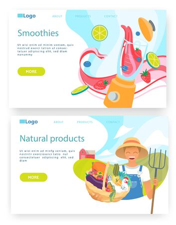 Organic food and drinks, farmer hold basket with vegetables, smoothie in blender. Vector web site design template. Landing page website concept illustration. Stock fotó - 138249517