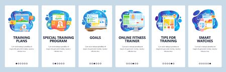 Fitness tracker app, sport training plan in mobile phone, fitness gadget. Mobile app onboarding screens. Menu vector banner template for website and mobile development. Web site design flat illustration.