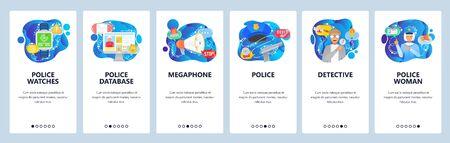 Police investigation, policewoman, police database, detective officer. Mobile app onboarding screens. Menu vector banner template for website and mobile development. Web site design flat illustration.