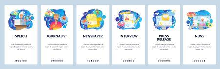 News media report, press conference, tv journalist. Mobile app onboarding screens. Menu vector banner template for website and mobile development. Web site design flat illustration.