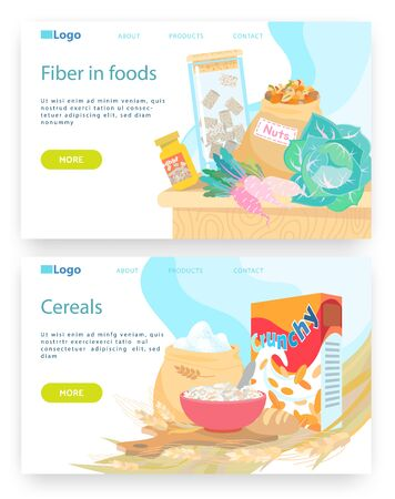 Healthy breakfast meal, bowl with cereals. Vegetables and nuts, fiber in food. Vector web site design template. Landing page website concept illustration.. 向量圖像