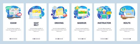 Driving test, studying to get driving license, road rules book. Mobile app onboarding screens. Menu vector banner template for website and mobile development. Web site design flat illustration.