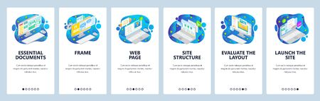 Web development, site wireframe, email and computer documents. Mobile app onboarding screens. Menu vector banner template for website and mobile development. Web site design flat illustration