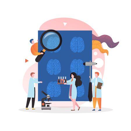 Doctor mirando imágenes de rayos x del cerebro humano, personal de laboratorio en batas blancas con equipo de laboratorio, ilustración vectorial. Tomografía de cabeza por resonancia magnética, tomografías computarizadas, tecnología de rayos X, laboratorio de neurología.