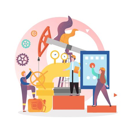Petroleum industry, vector illustration. Pump jack machine, oilman working on pipeline, woman oil refinery control room operator. Oil production and transportation concept for website page etc. Ilustracja