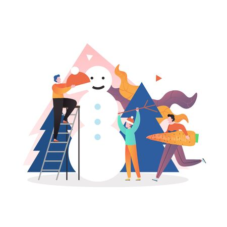 People making snowman, vector illustration. Preparation for Christmas and New Year celebration composition for poster, banner, website page etc.