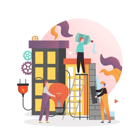 Dam energy production, vector illustration. Male and female characters engineers working at hydroelectric power plant. Hydropower electricity, energy of falling water, renewable source concept. Illustration