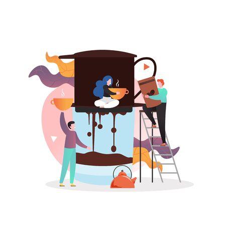 Leute, die Kaffee mit Filterkaffeemaschine, Vektorillustration machen. Alternatives manuelles Filterkaffeebrühkonzept für Webbanner, Website-Seite usw. Vektorgrafik