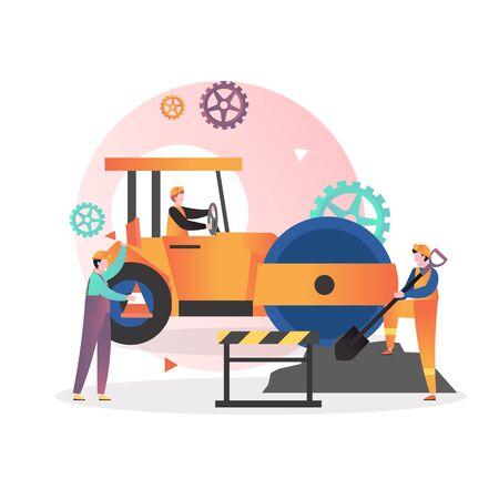 Illustrazione di vettore di riparazione, manutenzione e costruzione di strade. Personaggi maschili lavoratori che guidano il rullo compattatore di asfalto giallo, lavorando con la pala, tenendo cono di traffico. Installazione di pavimentazione in asfalto Vettoriali