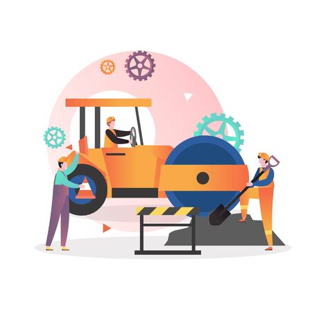Road repair, maintenance and construction vector illustration. Male characters workers driving yellow asphalt compactor roller, working with shovel, holding traffic cone. Asphalt pavement installation Ilustração Vetorial