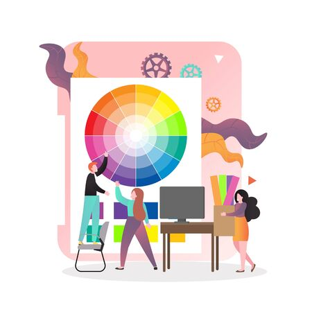 Typography services, vector illustration. Huge palette and micro characters expert designers helping customer to select color. Polygraphy, printing house composition for web banner, website page etc.