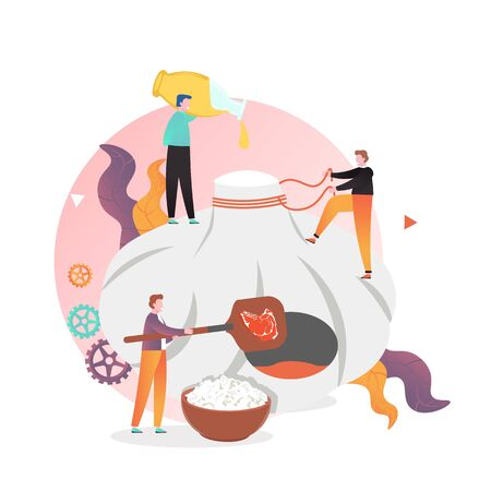 Georgian traditional cuisine, vector illustration. Micro male characters cooking huge khinkali. Georgian food restaurant composition for web banner, website page etc.