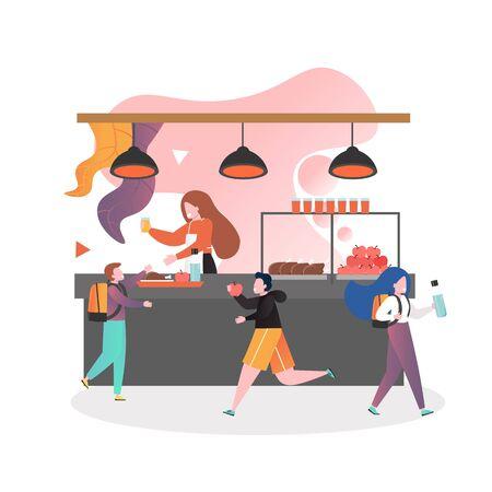 Mujer sirviendo comida y bebida al colegial en la cafetería de la escuela, ilustración vectorial. Concepto de servicio de comedor escolar para banner web, página web, etc.
