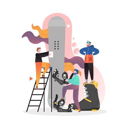 Equipo y equipo de snowboard, ilustración vectorial. Personaje de dibujos animados masculino de snowboarder preparándose para hacer snowboard, eligiendo fijaciones de snowboard.