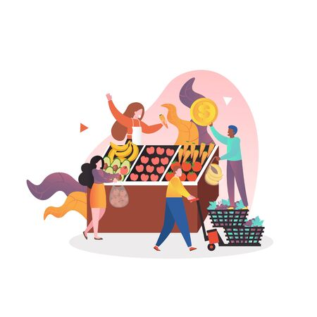 Organic food fresh fruit and vegetable market stall with saleswoman and buyers, vector illustration. Bazar, outdoor grocery store composition for web banner, website page etc.