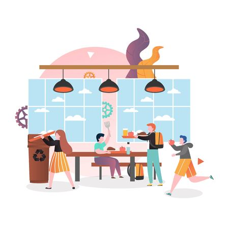 Pupils, students boys and girls cartoon characters having lunch in school cafeteria, vector illustration. School canteen service concept for web banner, website page etc. Vector Illustration