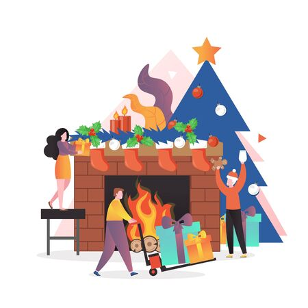Micro male and female characters decorating fireplace with Christmas wreath, stockings, candles and preparing gifts, vector illustration. Christmas and New Year celebration concept. 向量圖像