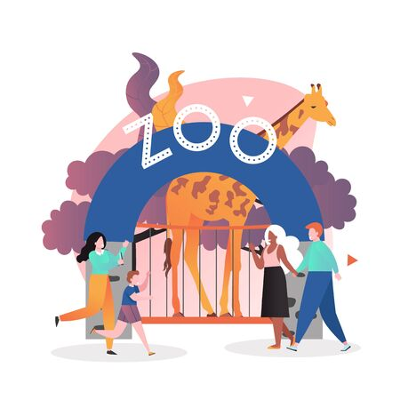 Zoo entrance gate, giraffe in cage and visitors happy couple and mother with son, vector illustration. Zoo park composition for web banner, website page etc.