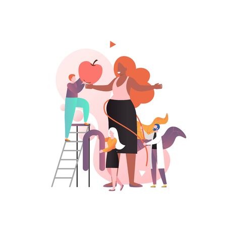 Medical checkup and antenatal care of pregnant woman in clinic, vector Illustration. Doctor measuring expectant girl belly with tape. Maternal health services, healthcare, childbearing concept.