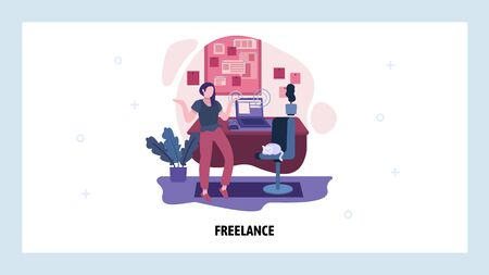 Work at home concept. Freelance girl develops project in home office. Cat sits on a chair. Vector web site design template. Landing page website concept illustration.