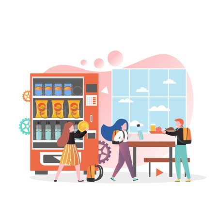 Pupils, students boys and girls cartoon characters buying snack food and drinks from vending machine in school cafeteria, vector illustration. School canteen service concept for banner, website page.
