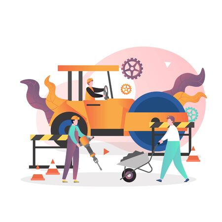 Road repair, maintenance and construction vector illustration. Male characters workers driving yellow asphalt compactor roller, working with jackhammer, wheelbarrow. Asphalt paving and repair services