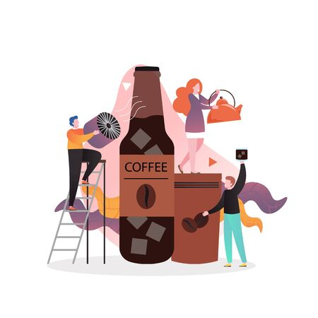 Cold brew coffee vector concept for web banner, website page