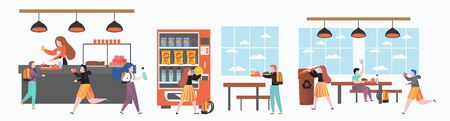 School canteen set, vector illustration. Pupils, students boys and girls cartoon characters having lunch in dining room, buying snack food and drinks from vending machine. Vector Illustration