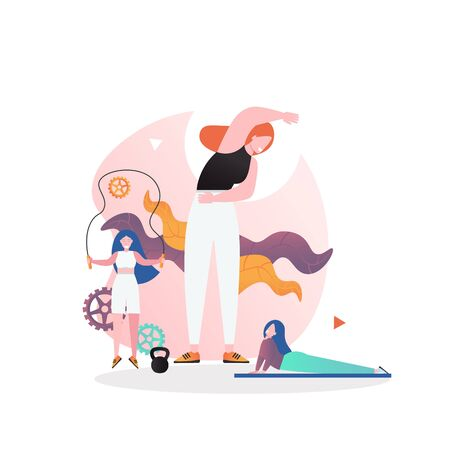 Women doing jumping rope, mat, stretching exercises, vector flat illustration. Fitness gym training concept for web banner, website page etc.