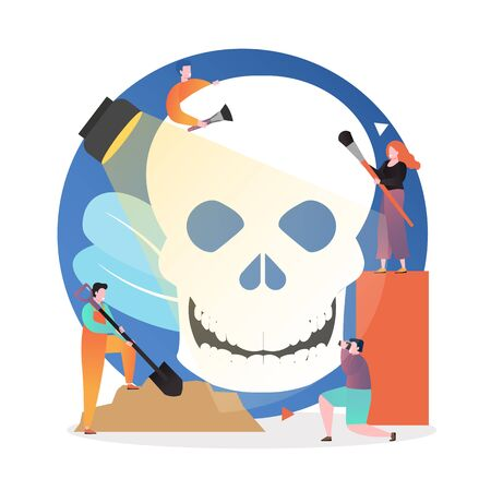 Micro male and female characters archaeologists cleaning huge human skull from soil, vector illustration. Ancient artifacts concept for web banner, website page etc. Çizim