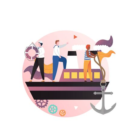 Ship with captain and sailors on deck, vector illustration. Seamen dropping anchor, holding life buoy. Cruise, navigation, maritime, shipping concept for web banner, website page etc.