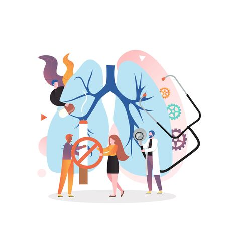 Huge human lungs, micro characters doctors with stethoscope, pills, no smoking sign, vector illustration. Respiratory examination and treatment, pulmonology, lung health checkup concept. Vecteurs