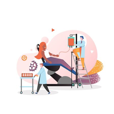 Blood donor female character donating blood while sitting in medical hospital chair, vector illustration. Blood donation, transfusion concept for web banner, website page etc.