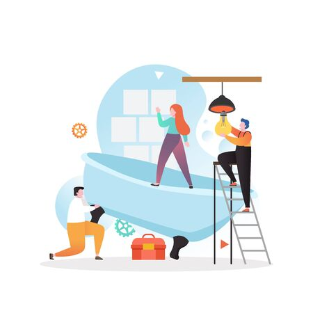 Male and female characters installing new tile and bathtub, fixing lamp in bathroom, vector illustration. Home repair services concept for web banner, website page etc. Ilustração