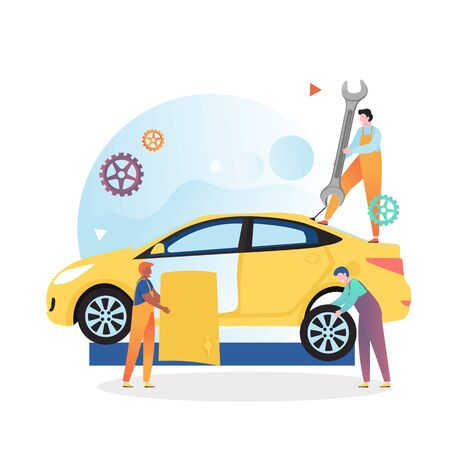 Car service and repair vector concept illustration. Mechanics fixing or replacing broken car door and tire. Auto dody repair shop concept for web banner, website page etc.