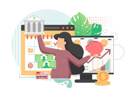 Woman holding bank building in one hand and money box in another. Banking and finance concept. Vector flat style design illustration. Money savings, online deposits, internet banking concept.