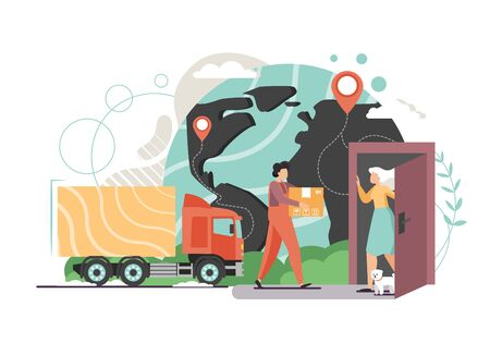 Delivery truck and man carrying parcel to woman door, world map with location pin, vector flat style design illustration. Express home delivery service, online shopping, cargo and shipping concept. 일러스트