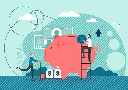 Micro male characters putting dollar coin into huge piggy bank, pushing cart with money bags, vector flat style design illustration. Money savings, bank deposit concept for web banner, website page.