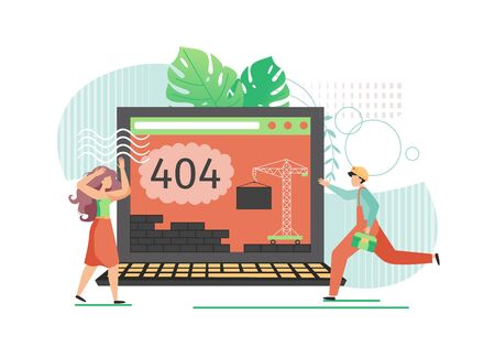 Huge laptop with 404 Error warning on screen, micro characters, vector flat style design illustration. Worker rushing to help scared girl to fix 404 error Page not found, Site under construction.