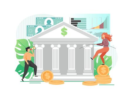 Bank building, man with megaphone attracting financial resources, happy woman balancing on one leg on dollar coin, vector flat illustration. Deposits promotion, banking business, bank services.