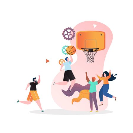 Basketball player performing slam dunk, vector illustration. Basketball tournament, indoor or summer outdoor team sport game concept for web banner, website page etc.