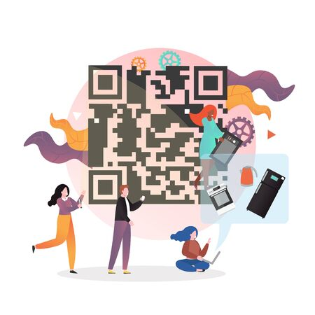 Happy male and female characters doing shopping with smartphone QR code scanning and paying within the app, vector illustration. Barcode scanning, verification app concept.